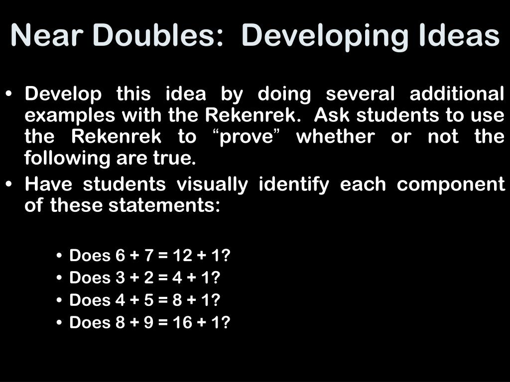 Near Doubles:  Developing Ideas