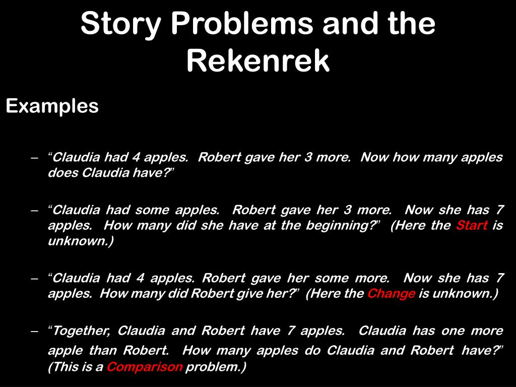 Story Problems and the Rekenrek