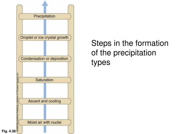 Steps in the formation of the precipitation types