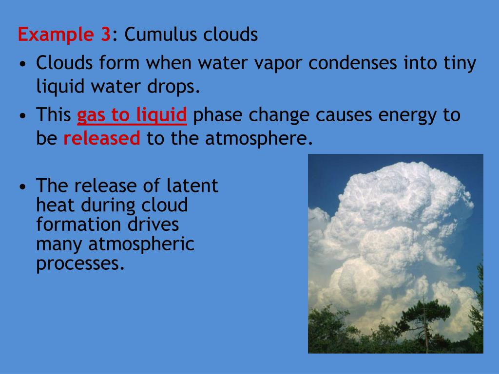 The release of latent heat during cloud formation drives many atmospheric processes.