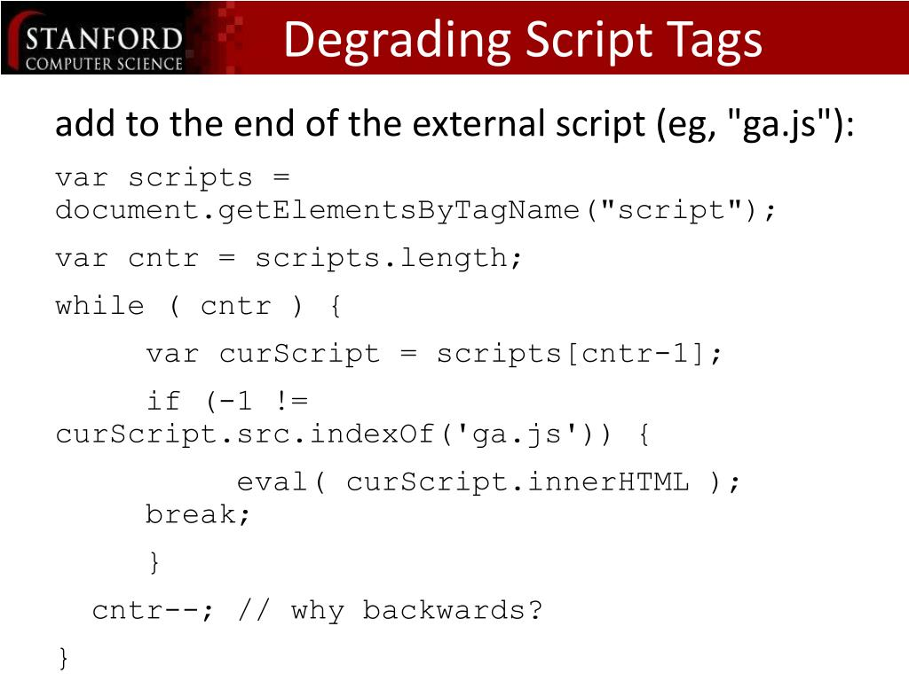 Degrading Script Tags