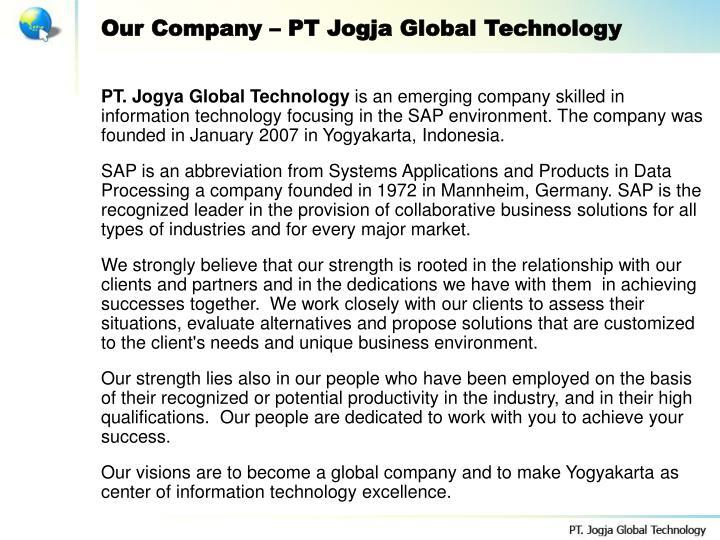 Our Company – PT Jogja Global Technology