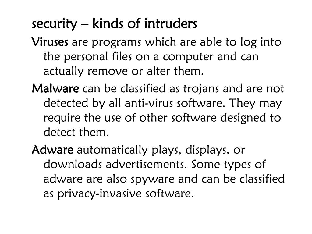 security – kinds of intruders