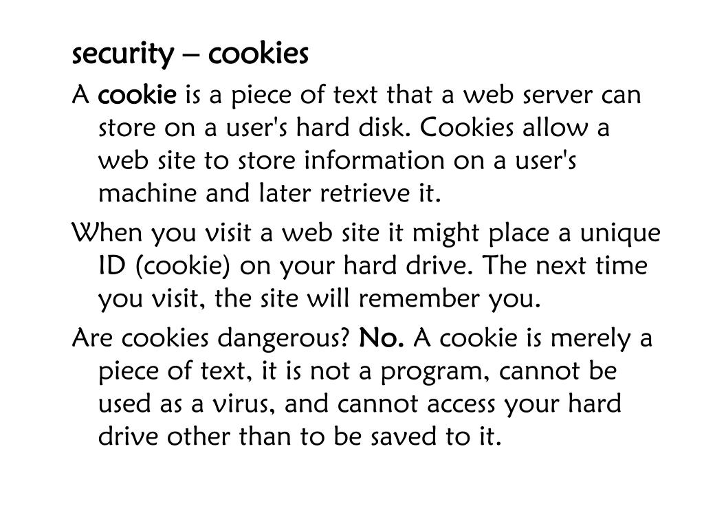 security – cookies