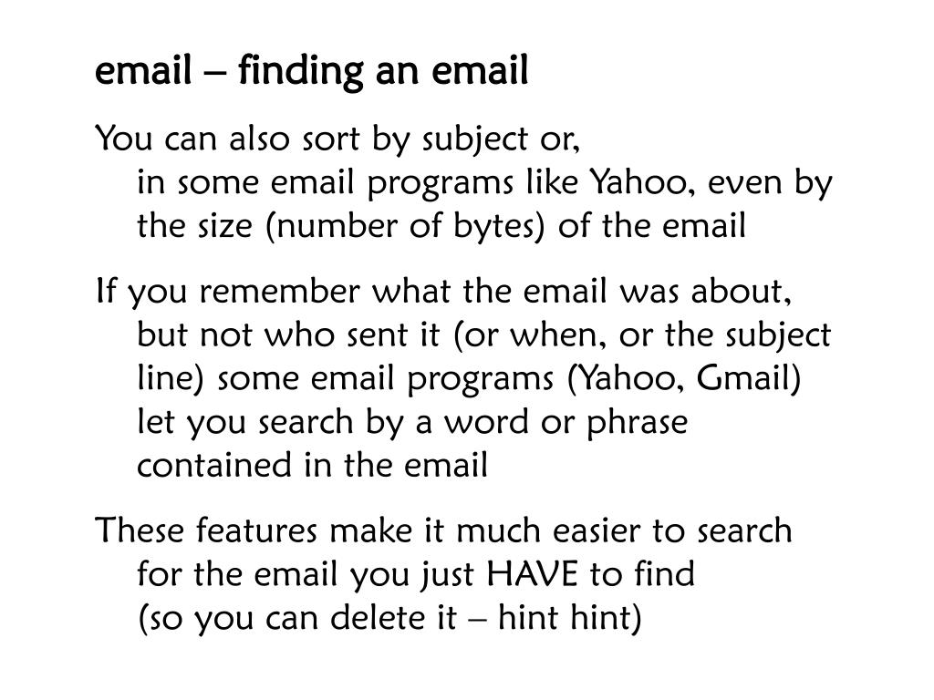 email – finding an email