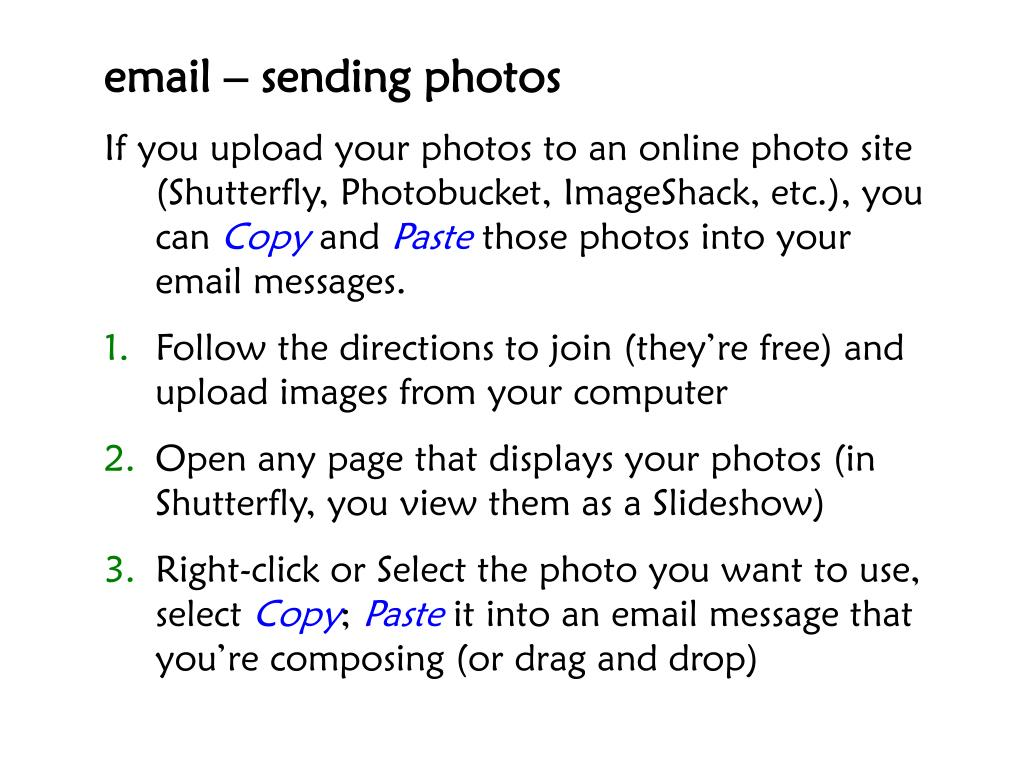 email – sending photos