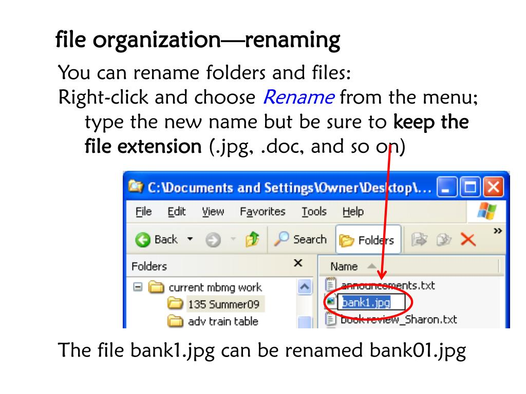 file organization—renaming