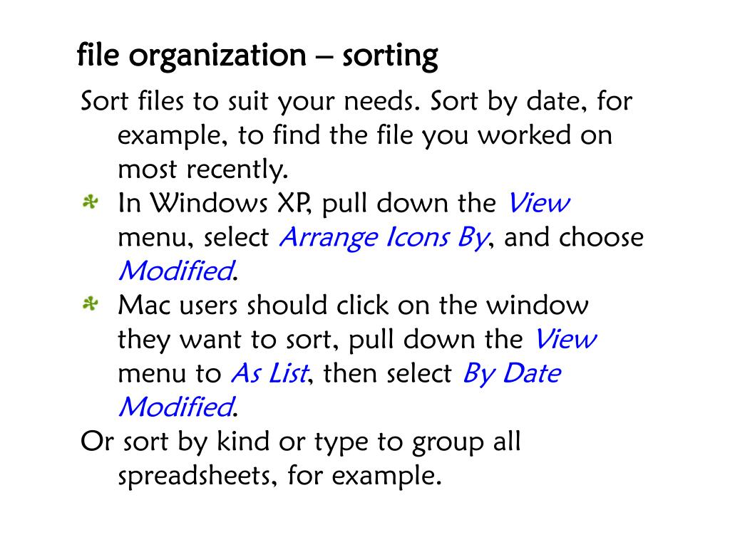 file organization – sorting