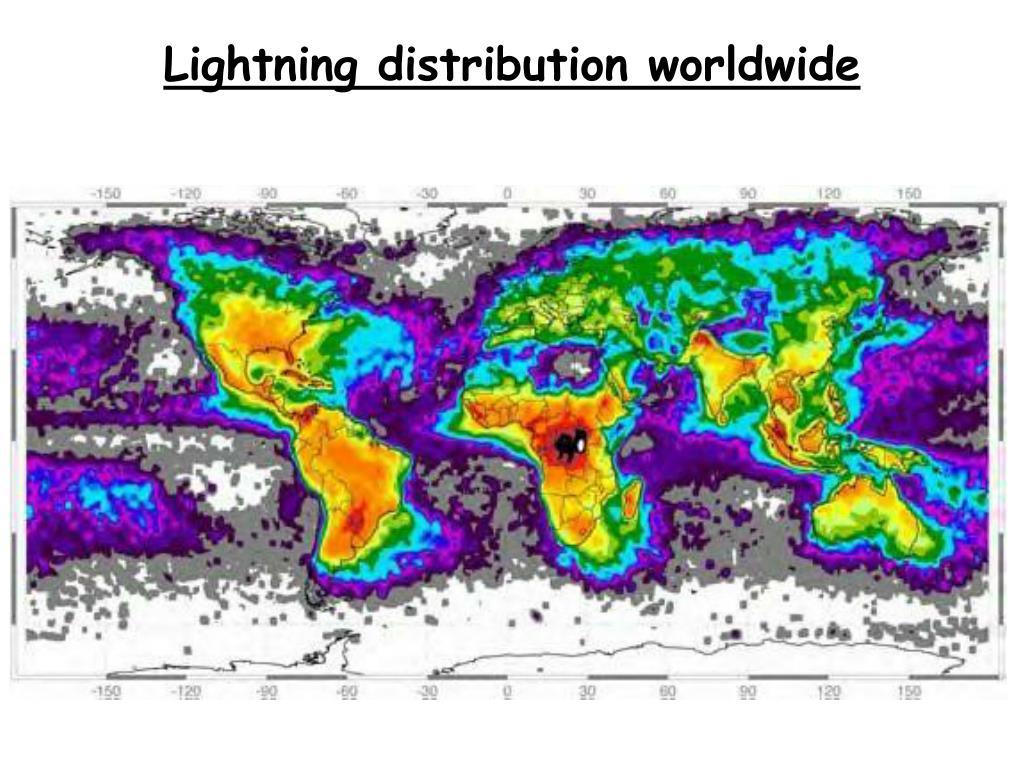 Lightning distribution worldwide