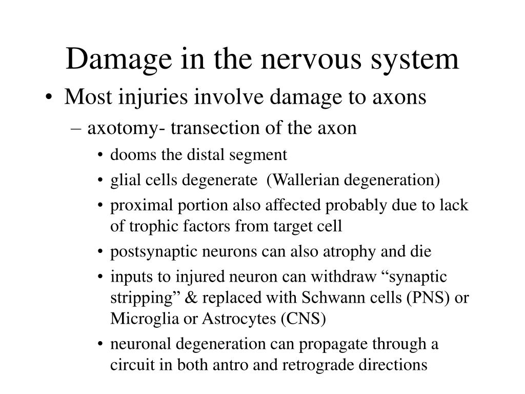 Damage in the nervous system