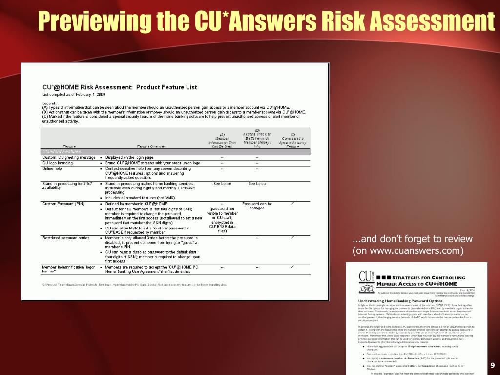 Previewing the CU*Answers Risk Assessment