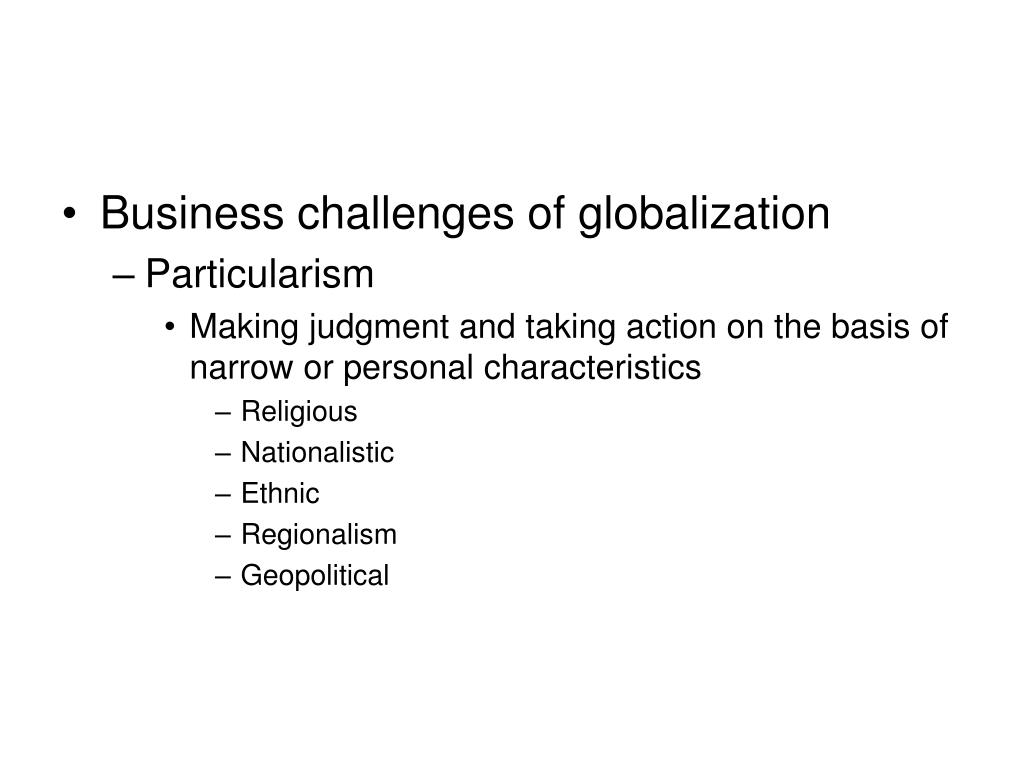 Business challenges of globalization
