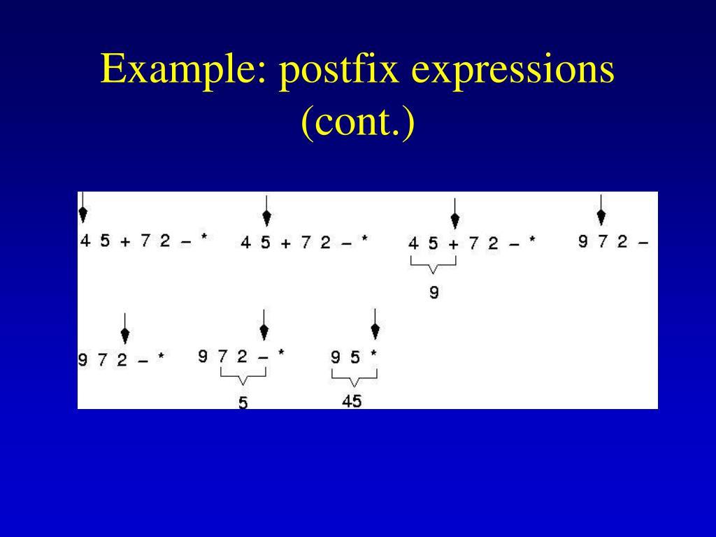Example: postfix expressions