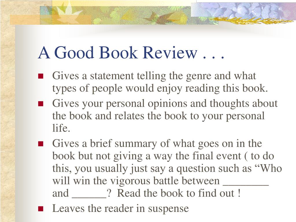 A Good Book Review . . .