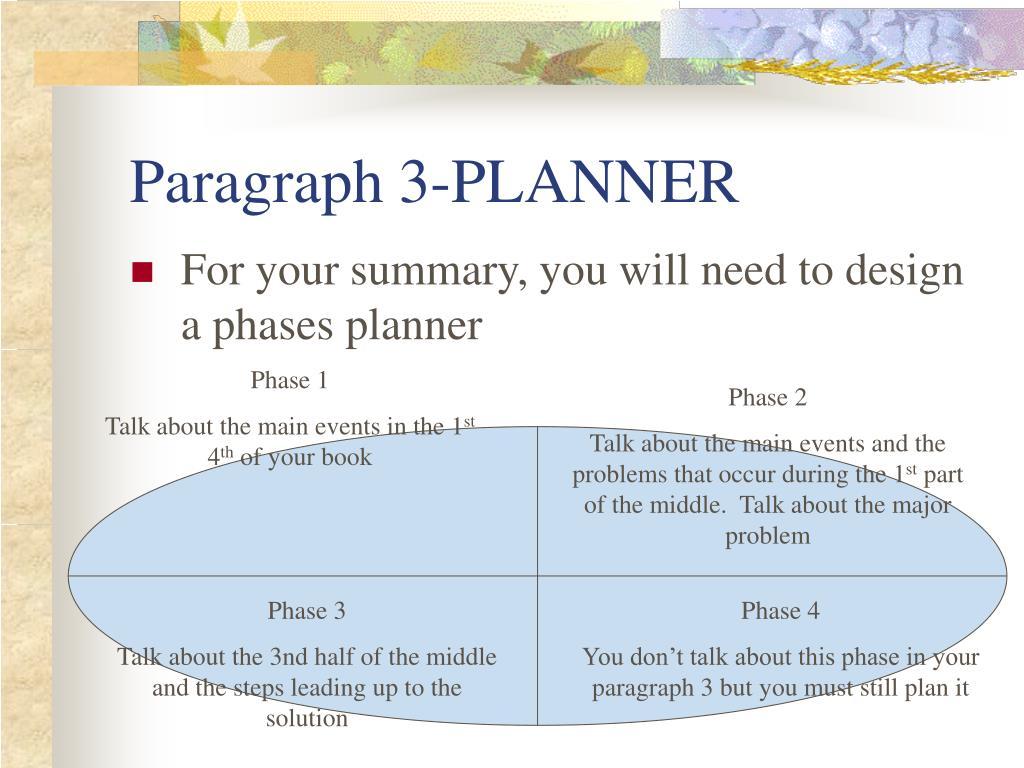 Paragraph 3-PLANNER