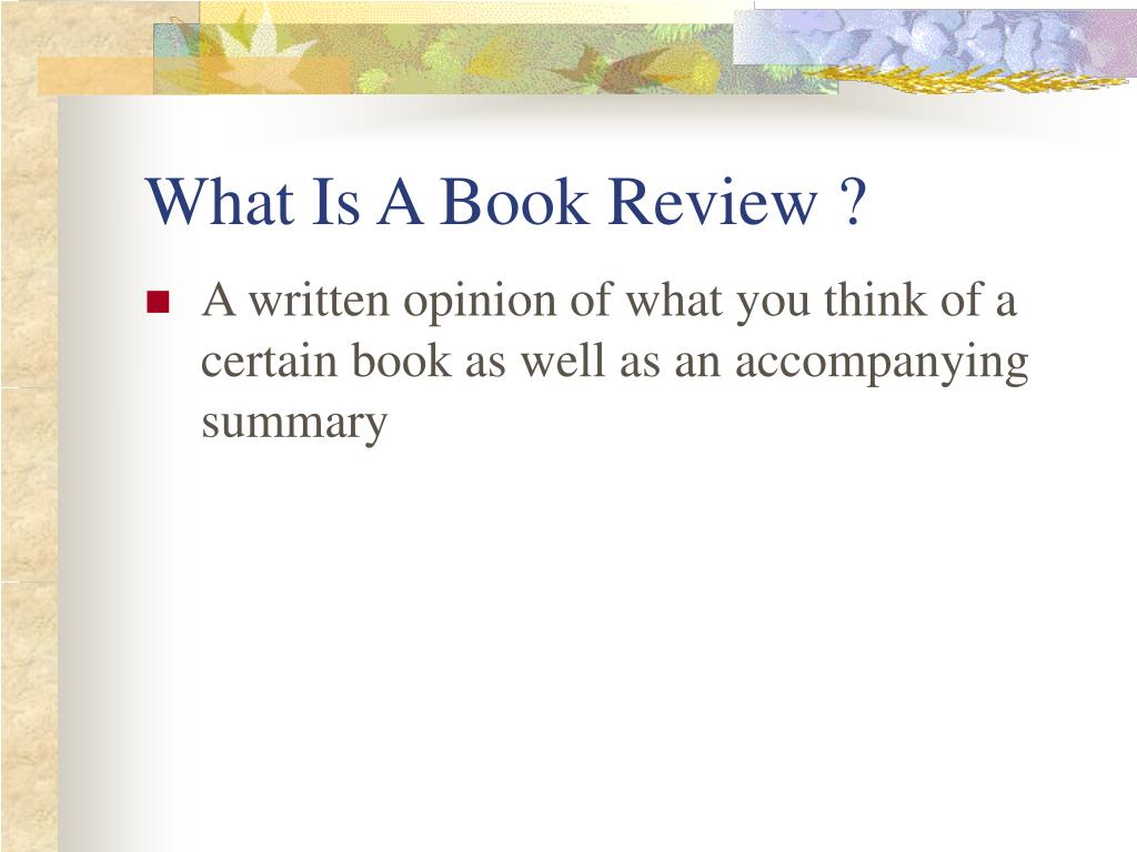 What Is A Book Review ?