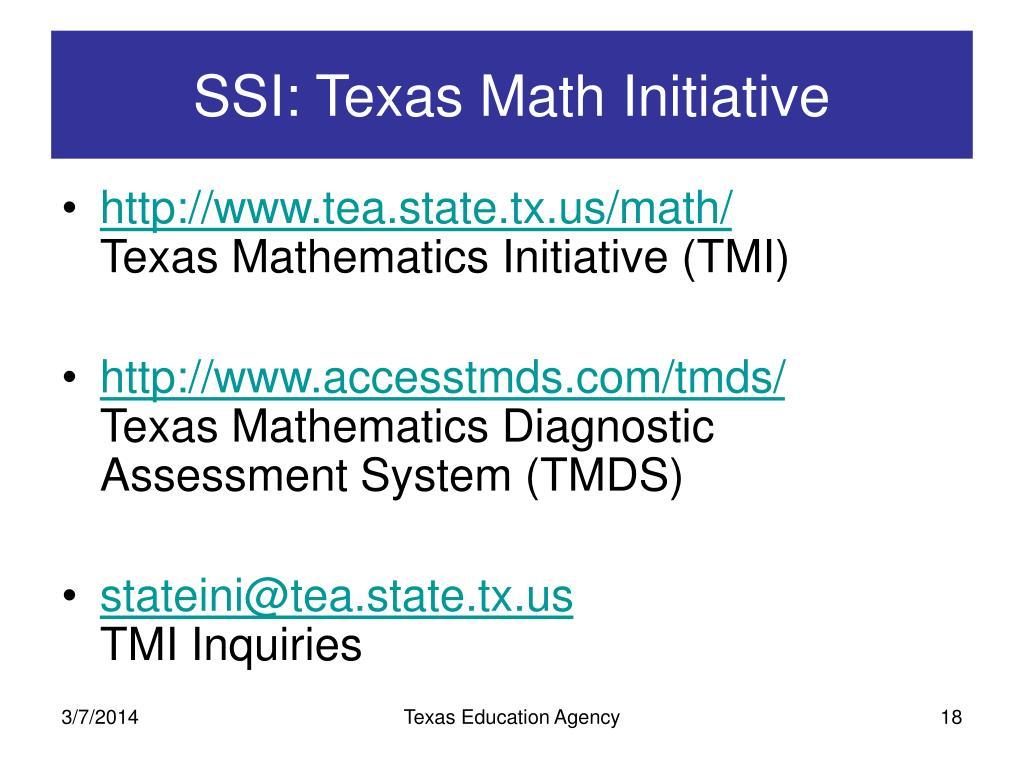 SSI: Texas Math Initiative