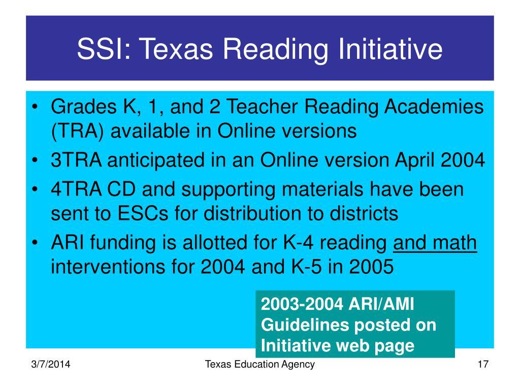 SSI: Texas Reading Initiative
