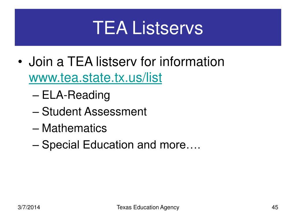 TEA Listservs