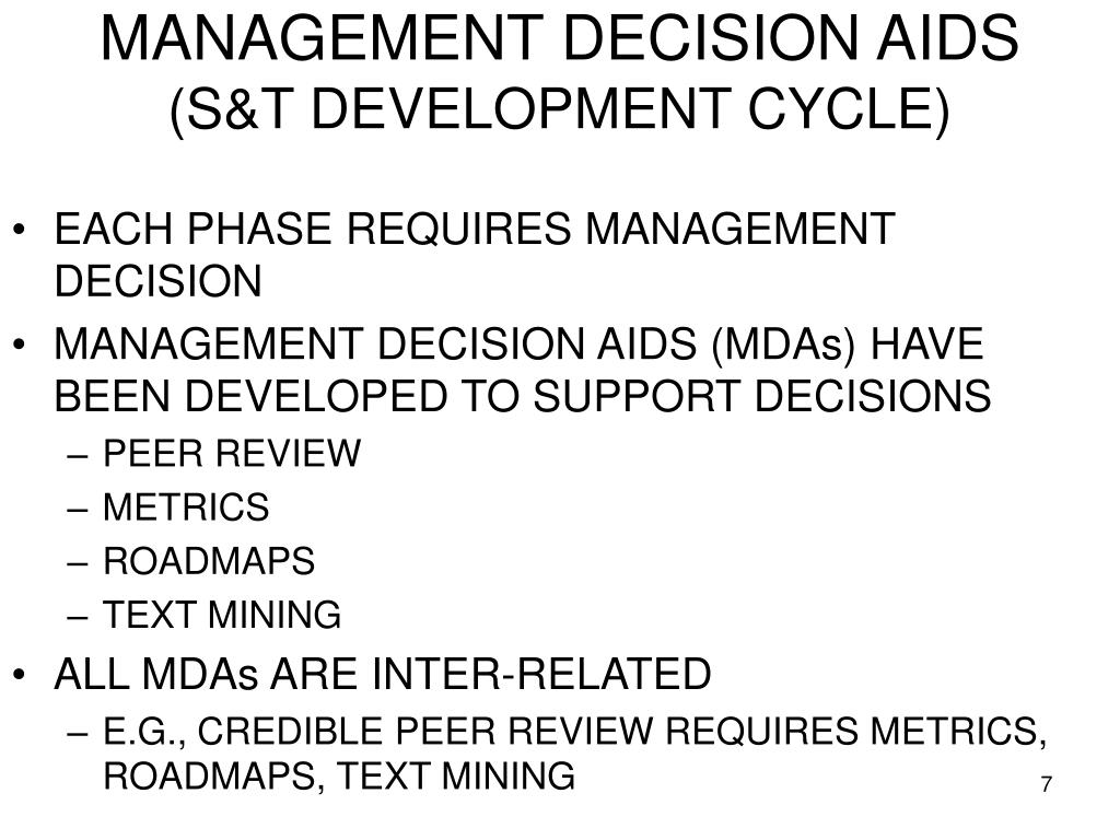 MANAGEMENT DECISION AIDS