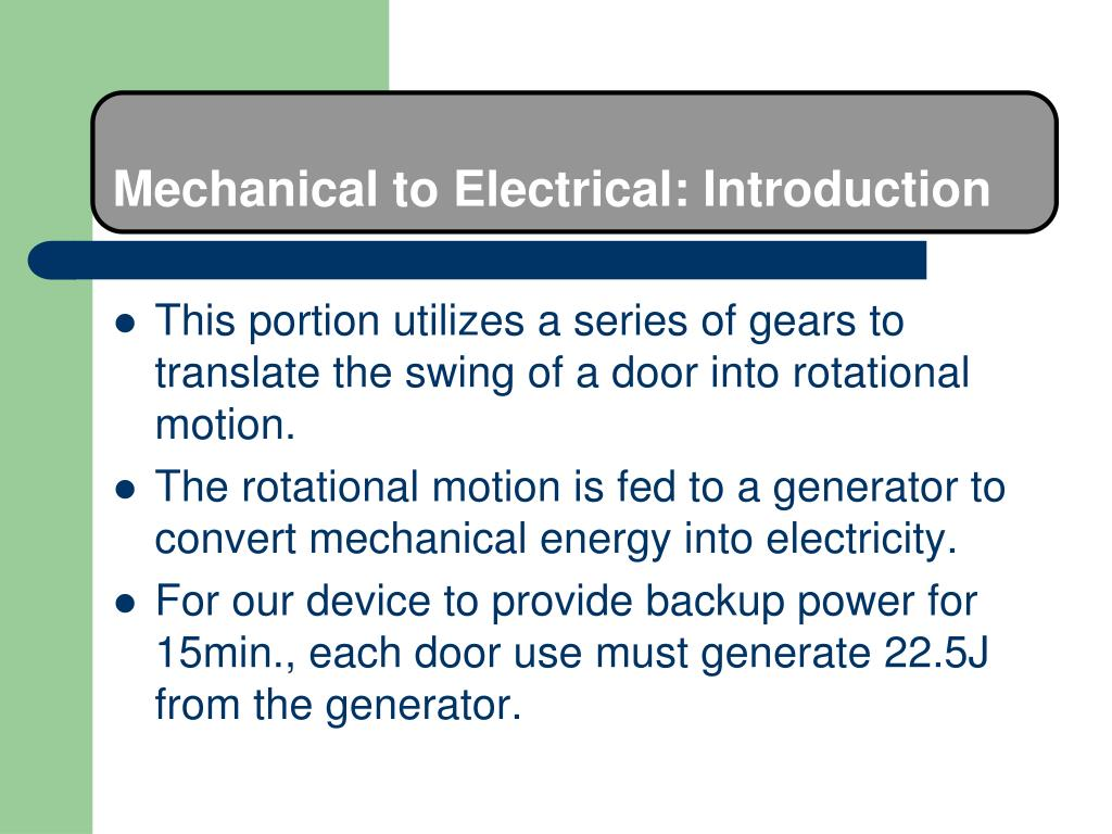 Mechanical to Electrical: Introduction