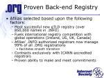 proven back end registry