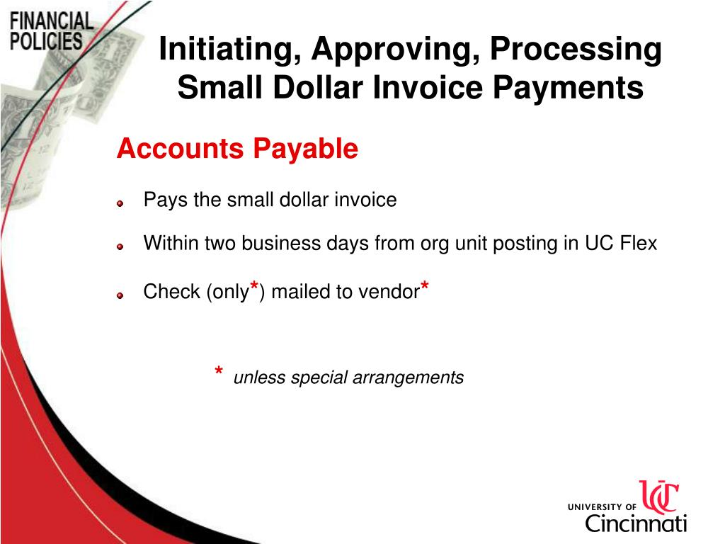 Initiating, Approving, Processing Small Dollar Invoice Payments