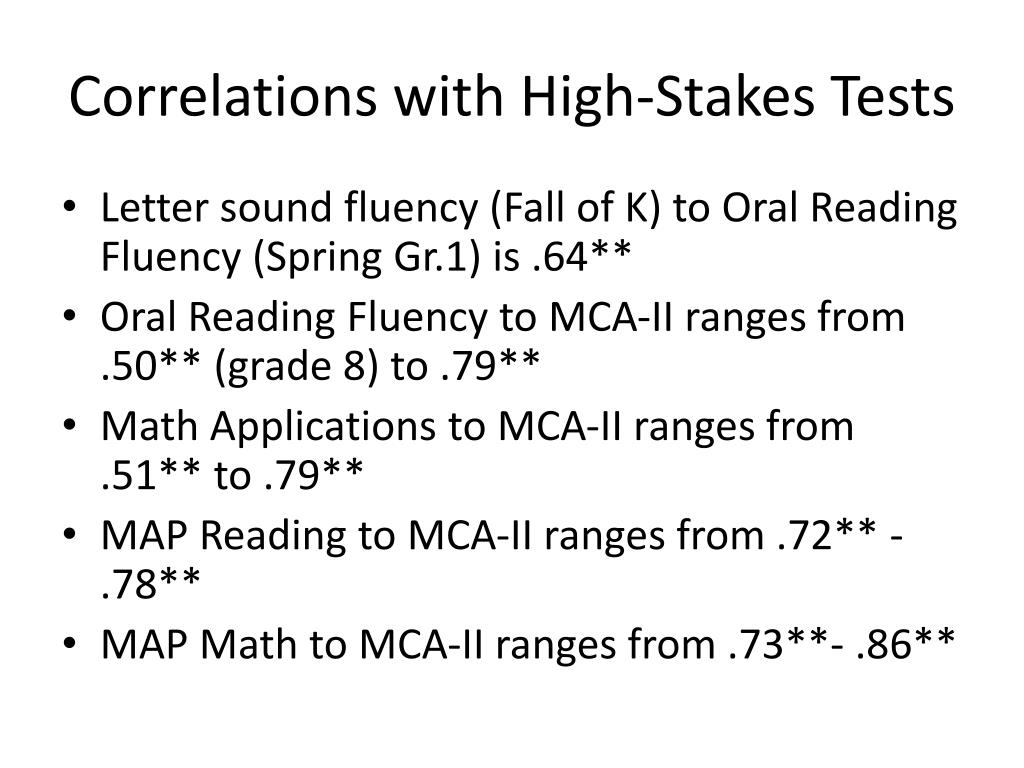 Correlations with High-Stakes Tests