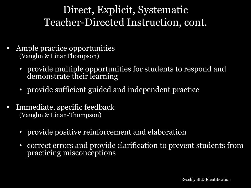 Direct, Explicit, Systematic