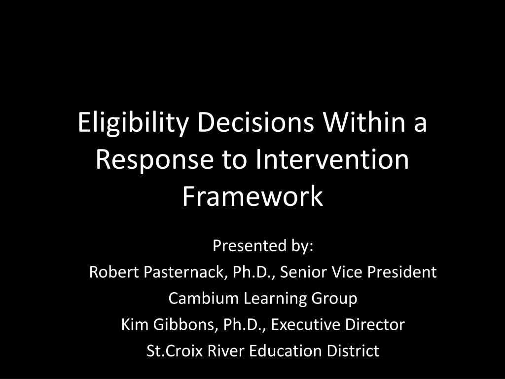 Eligibility Decisions Within a Response to Intervention Framework
