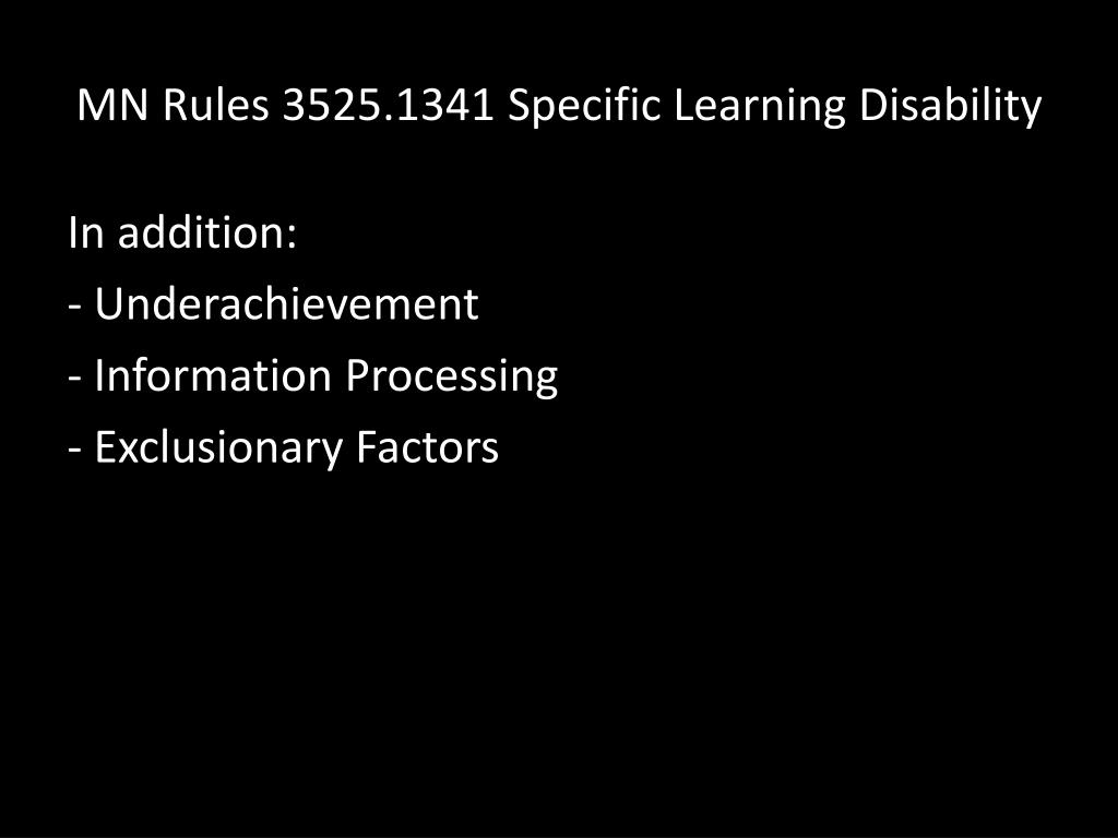 MN Rules 3525.1341 Specific Learning Disability