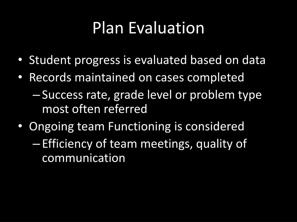 Plan Evaluation