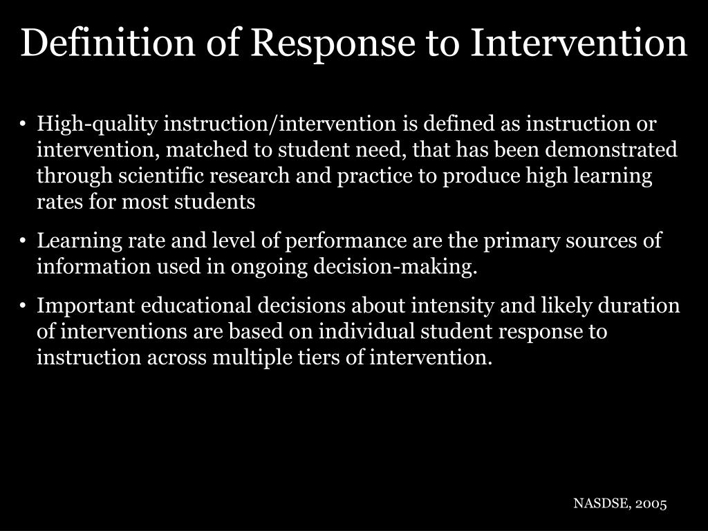 Definition of Response to Intervention