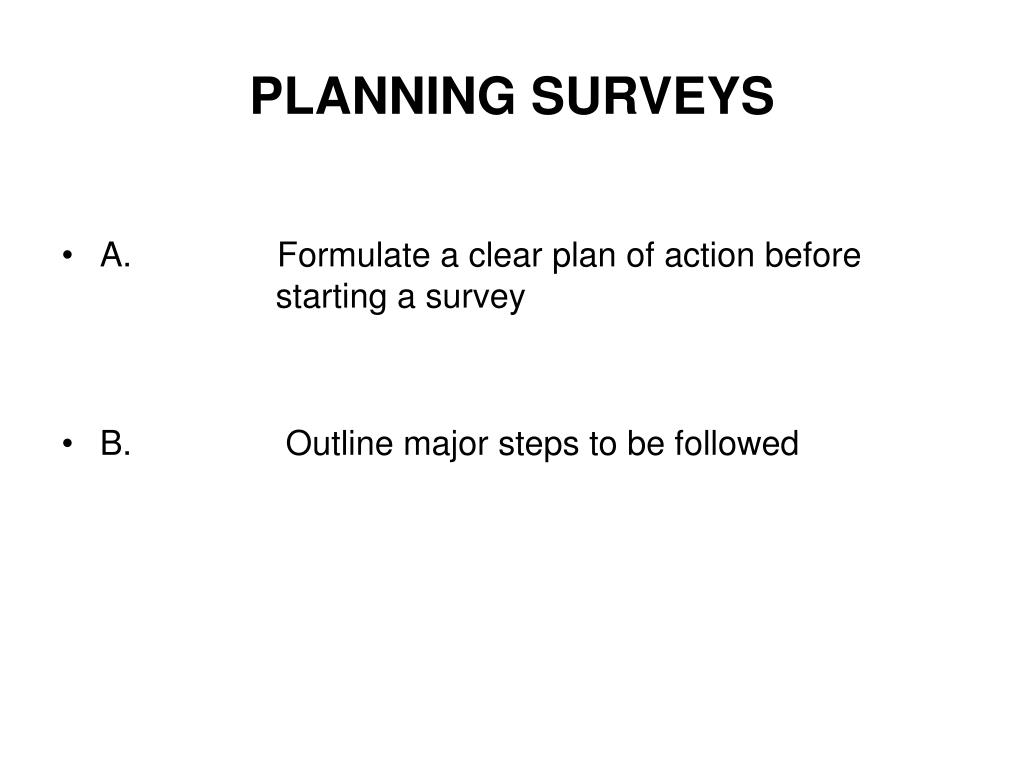 PLANNING SURVEYS
