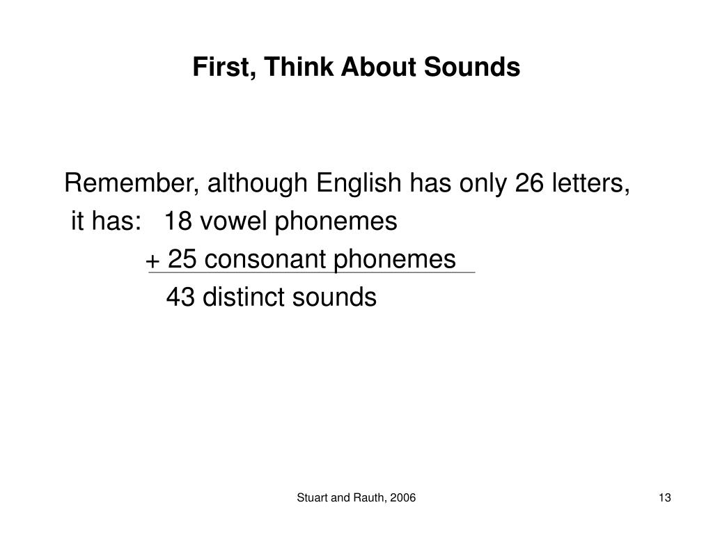 First, Think About Sounds