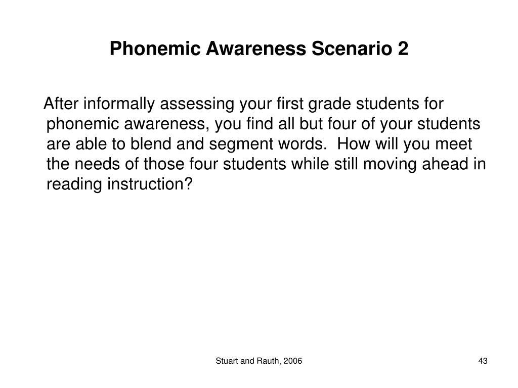 Phonemic Awareness Scenario 2