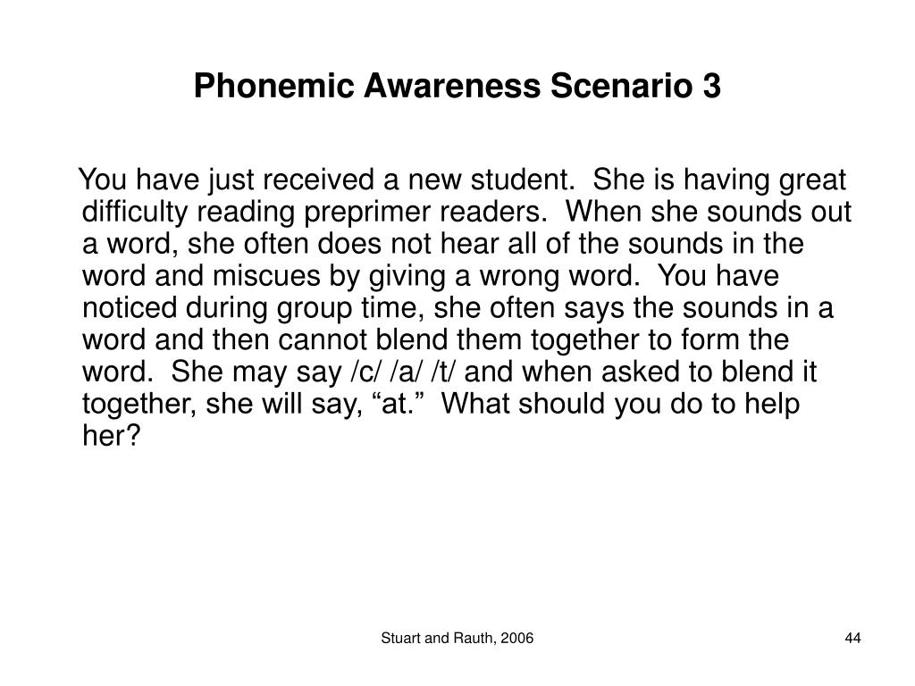 Phonemic Awareness Scenario 3