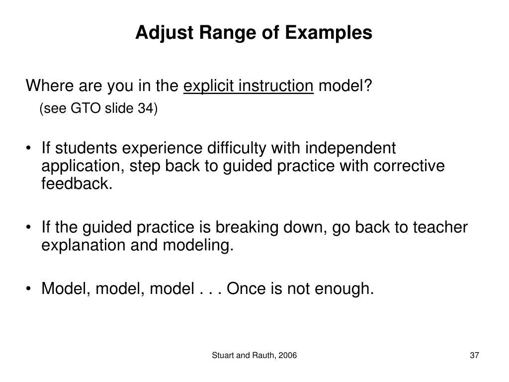 Adjust Range of Examples