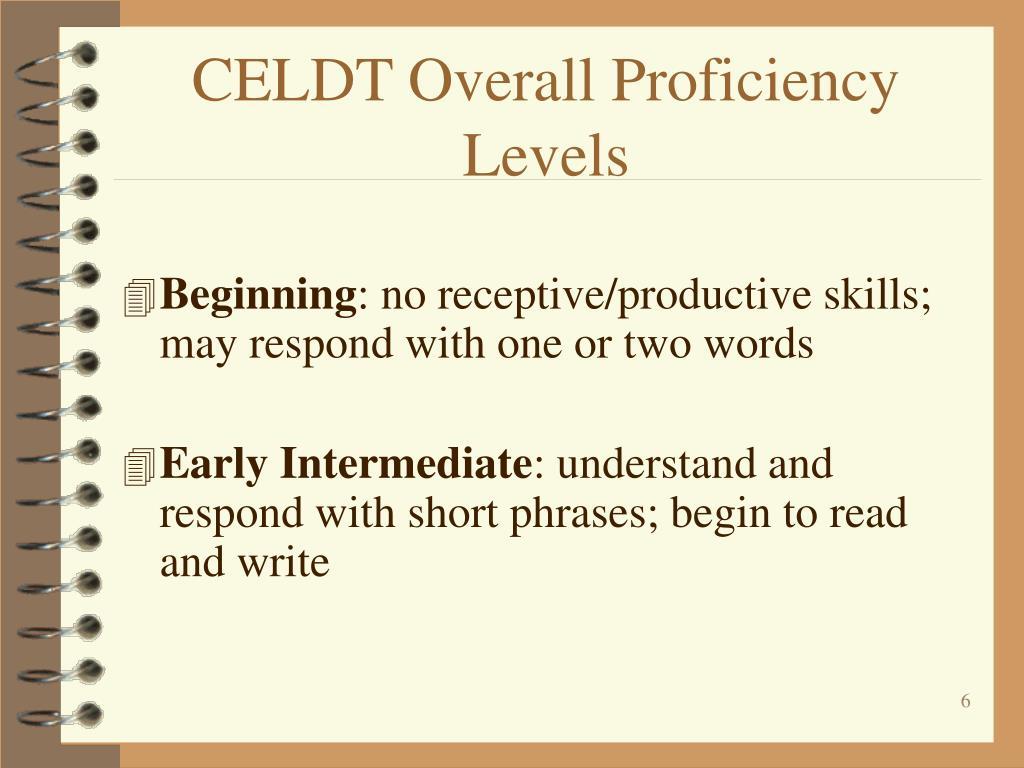 CELDT Overall Proficiency Levels