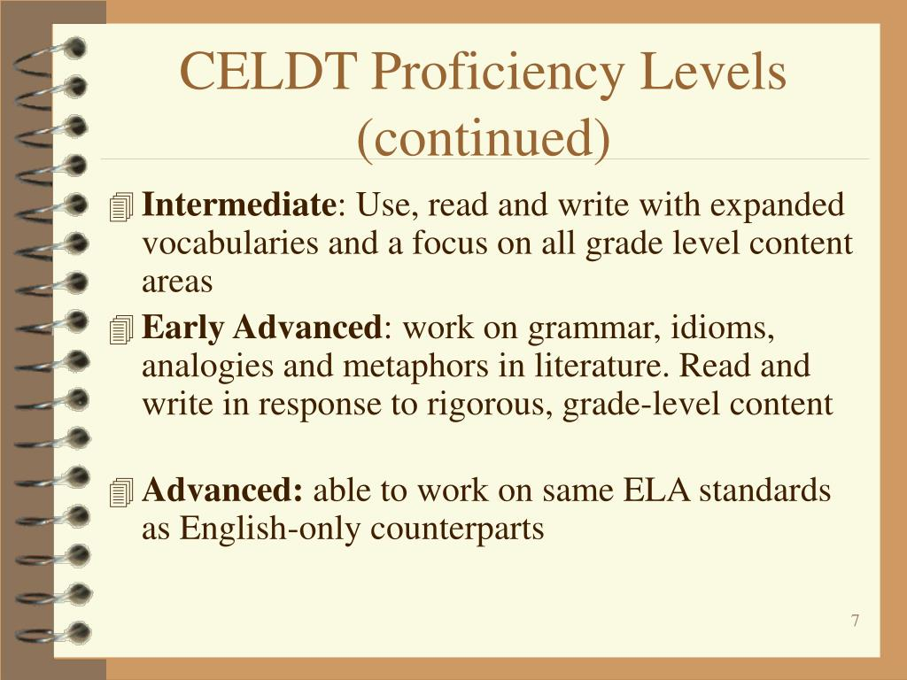 CELDT Proficiency Levels (continued)
