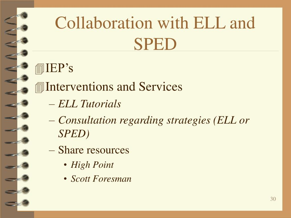Collaboration with ELL and SPED