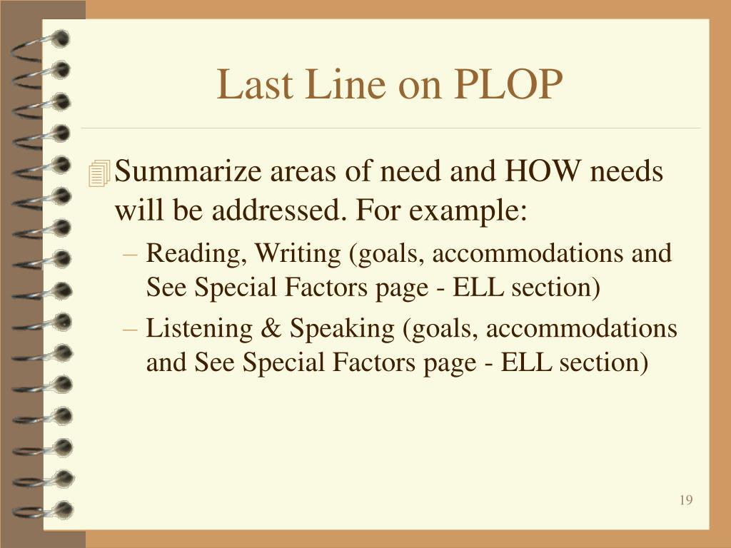 Last Line on PLOP