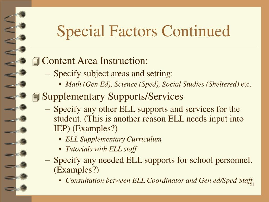Special Factors Continued