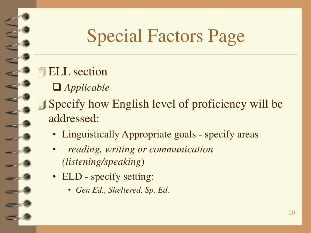 Special Factors Page