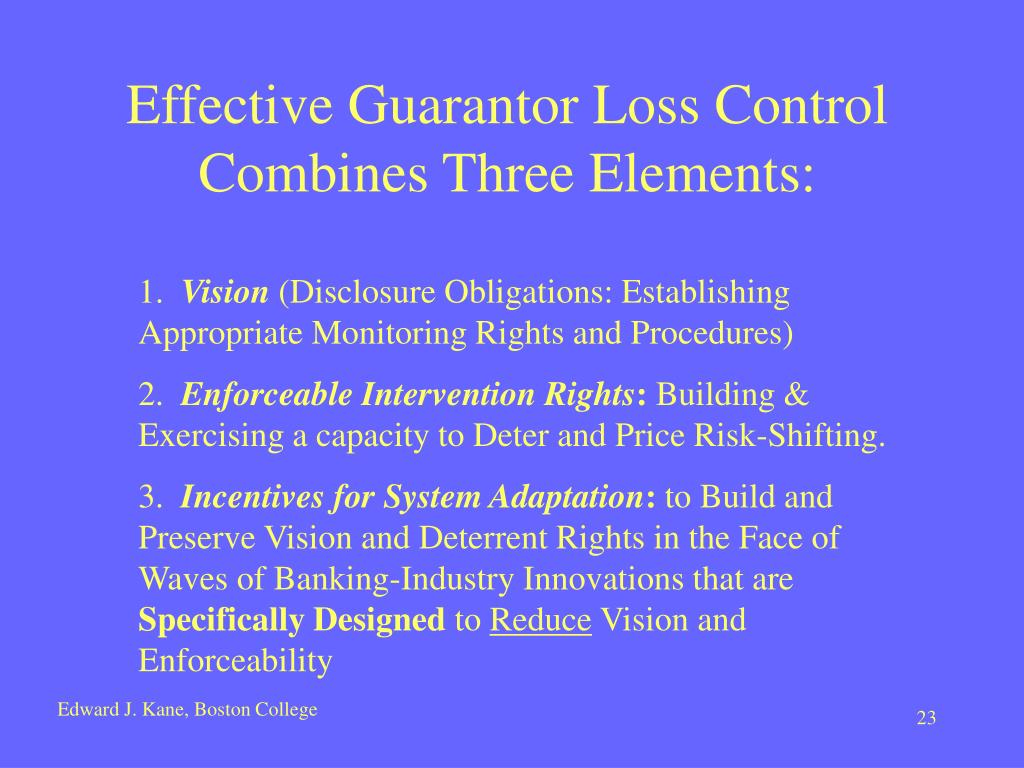 Effective Guarantor Loss Control Combines Three Elements: