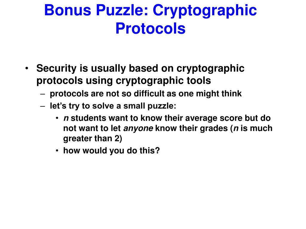 Bonus Puzzle: Cryptographic Protocols