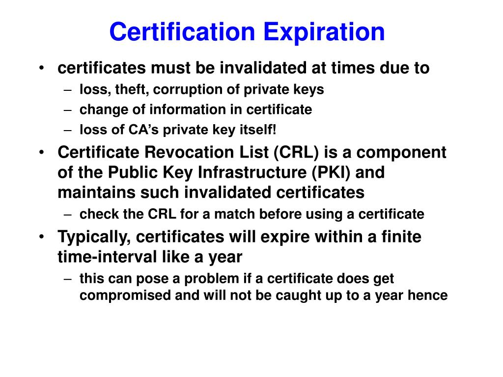 Certification Expiration