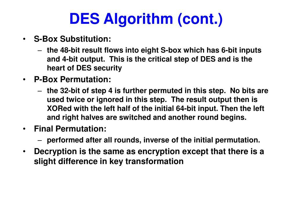 DES Algorithm (cont.)