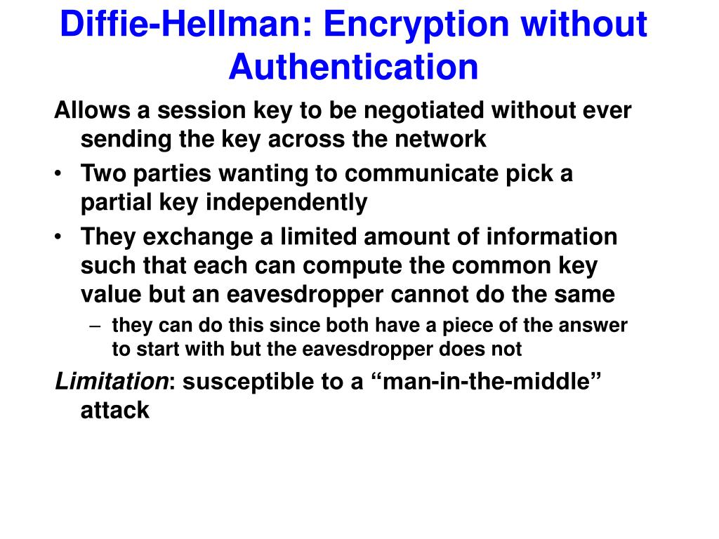 Diffie-Hellman: Encryption without Authentication
