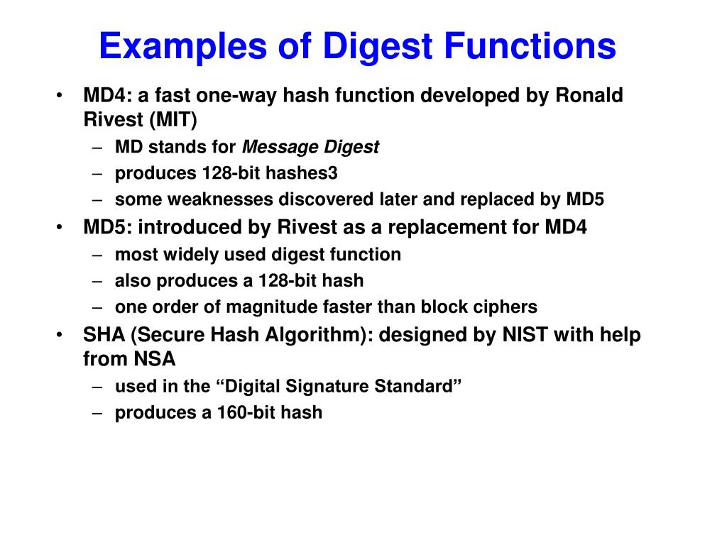 Examples of Digest Functions
